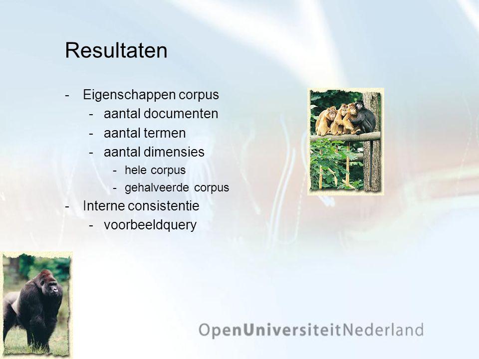 Resultaten Eigenschappen corpus aantal documenten aantal termen aantal dimensies hele corpus gehalveerde corpus Interne consistentie voorbeeld