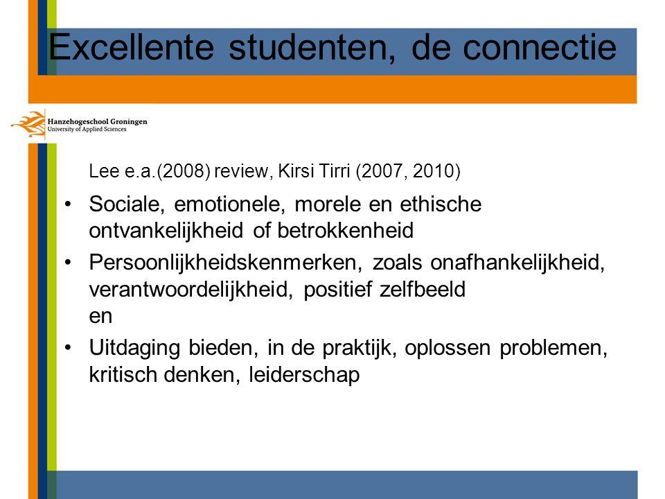 Excellente studenten, de connectie Lee e.a.(2008) review, Kirsi Tirri (2007, 2010) Sociale, emotionele, morele en ethische ontvankelijkheid of betrokk