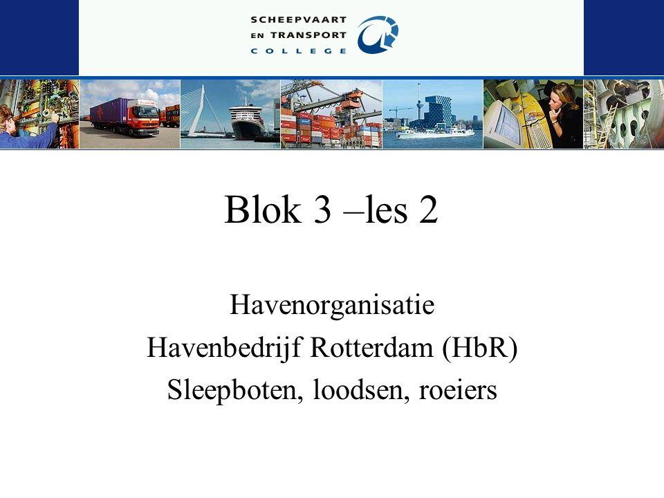 Blok 3 –les 2 Havenorganisatie Havenbedrijf Rotterdam (HbR) Sleepboten, loodsen, roeiers