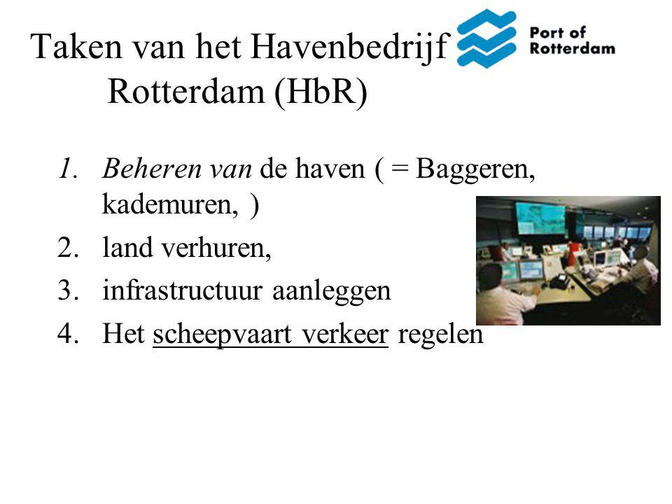 Taken van het Havenbedrijf Rotterdam (HbR) 1.Beheren van de haven ( = Baggeren, kademuren, ) 2.land verhuren, 3.infrastructuur aanleggen 4.Het scheepvaart verkeer regelen