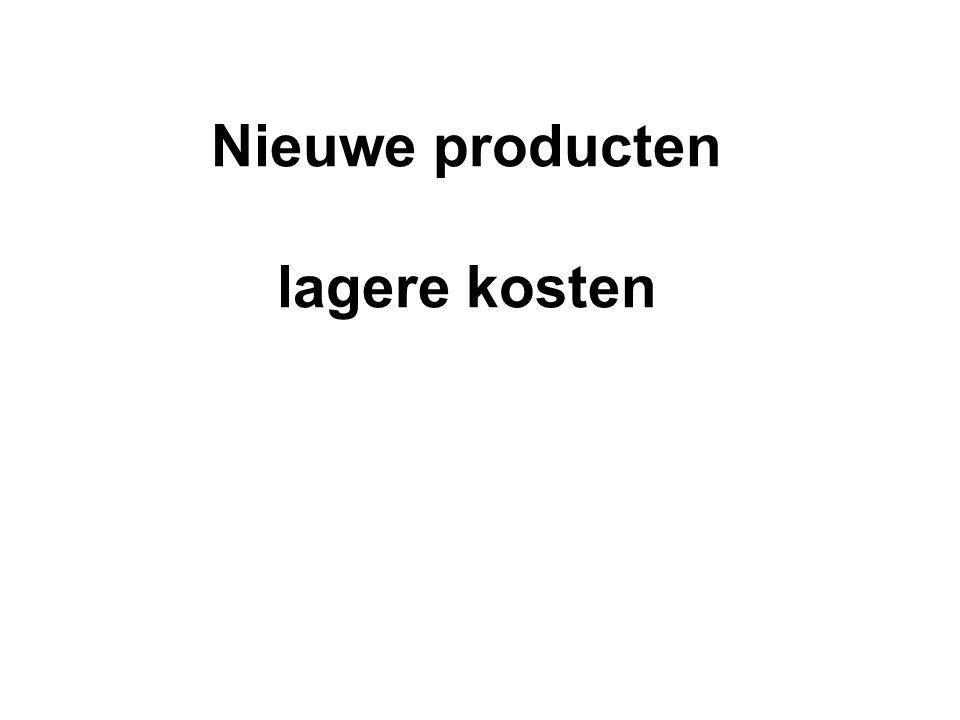 Nieuwe producten lagere kosten