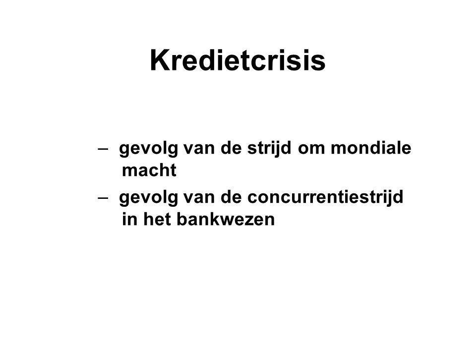 Kredietcrisis – gevolg van de strijd om mondiale macht – gevolg van de concurrentiestrijd in het bankwezen