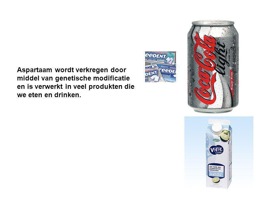 Aspartaam wordt verkregen door middel van genetische modificatie en is verwerkt in veel produkten die we eten en drinken.