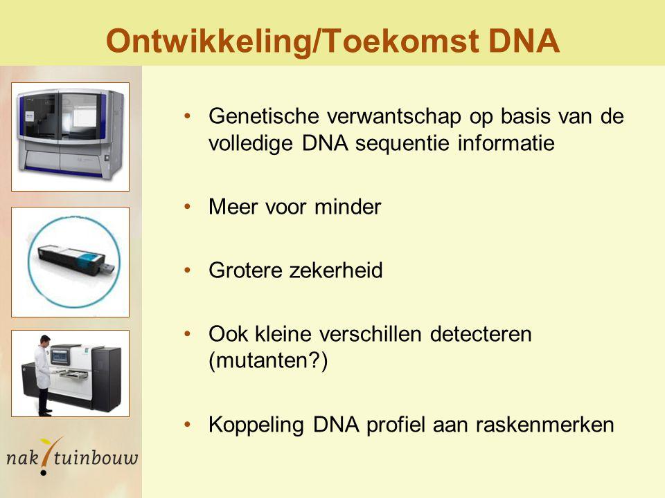 Ontwikkeling/Toekomst DNA Genetische verwantschap op basis van de volledige DNA sequentie informatie Meer voor minder Grotere zekerheid Ook kleine verschillen detecteren (mutanten?) Koppeling DNA profiel aan raskenmerken