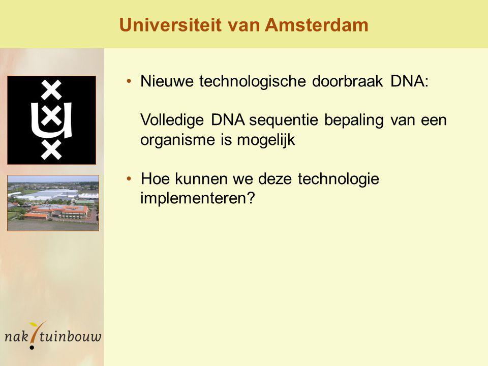Nieuwe technologische doorbraak DNA: Volledige DNA sequentie bepaling van een organisme is mogelijk Hoe kunnen we deze technologie implementeren.