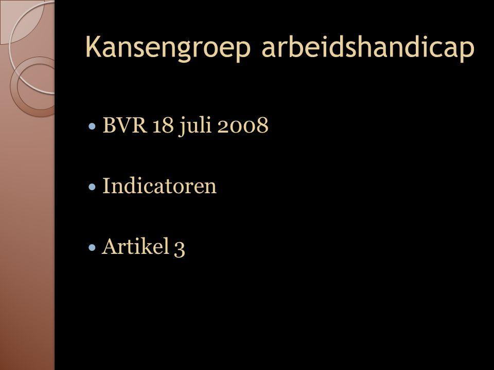 Kansengroep arbeidshandicap BVR 18 juli 2008 Indicatoren Artikel 3