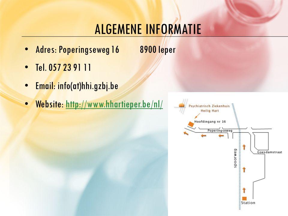 ALGEMENE INFORMATIE A dres: Poperingseweg 168900 Ieper T el. 057 23 91 11 E mail: info(at)hhi.gzbj.be W ebsite: http://www.hhartieper.be/nl/