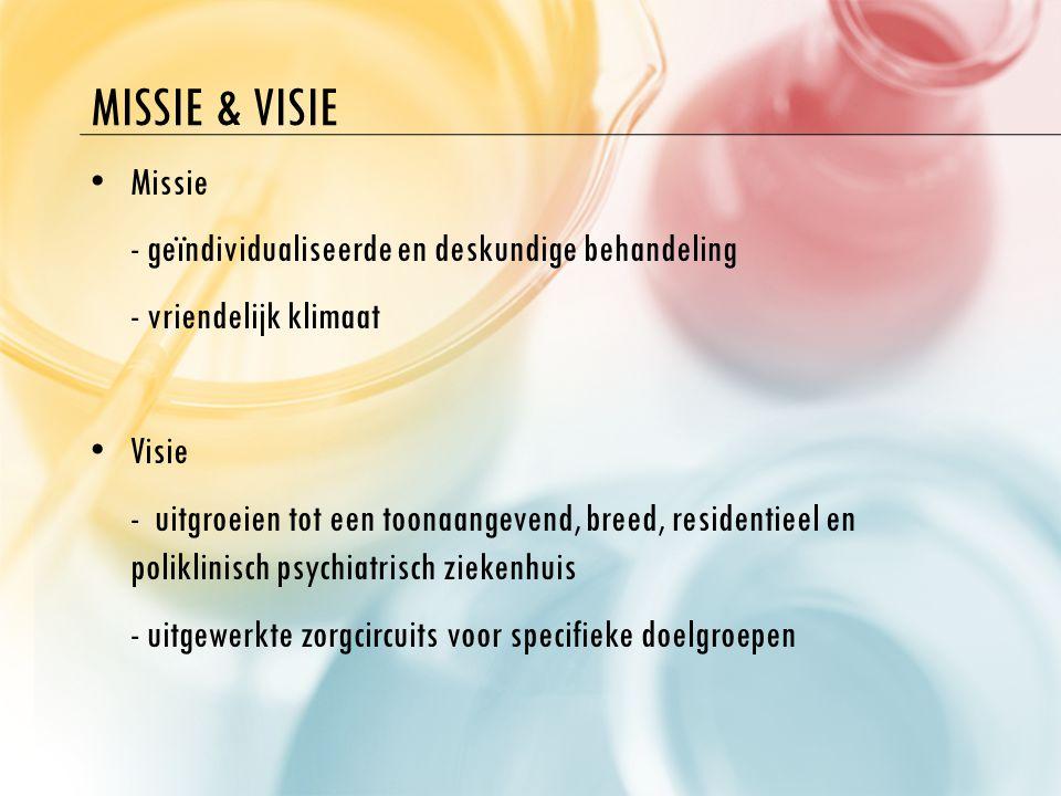 MISSIE & VISIE M issie - geïndividualiseerde en deskundige behandeling - vriendelijk klimaat V isie - uitgroeien tot een toonaangevend, breed, residen