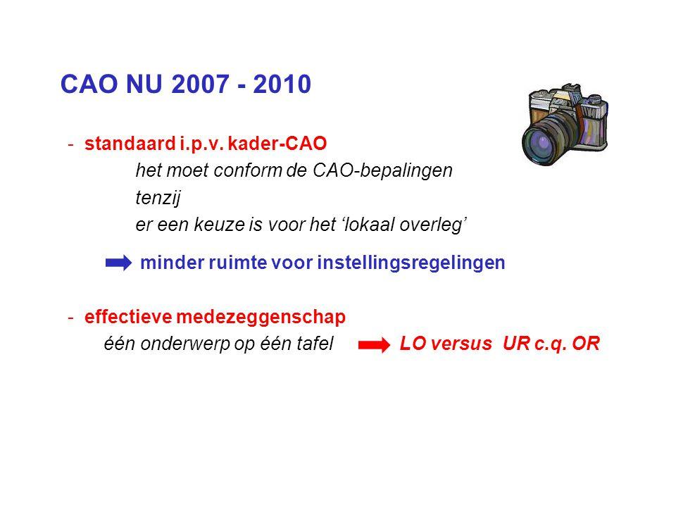 CAO NU 2007 - 2010 - standaard i.p.v. kader-CAO het moet conform de CAO-bepalingen tenzij er een keuze is voor het 'lokaal overleg' minder ruimte voor