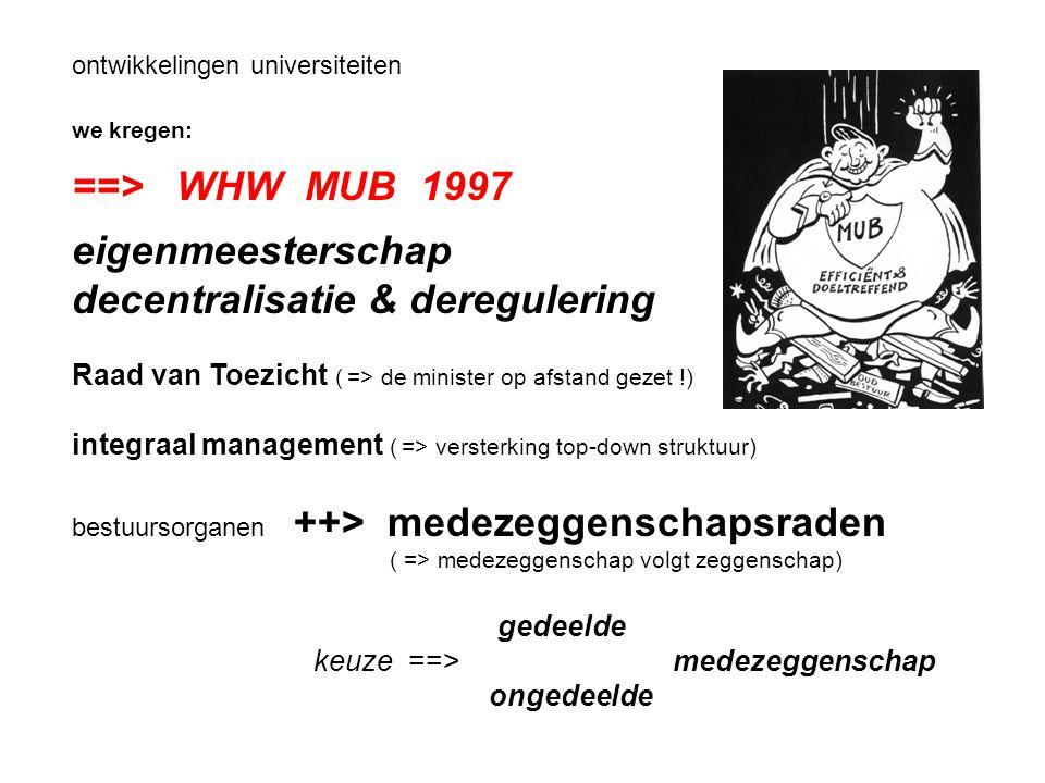 ontwikkelingen universiteiten we kregen: ==> WHW MUB 1997 eigenmeesterschap decentralisatie & deregulering Raad van Toezicht ( => de minister op afstand gezet !) integraal management ( => versterking top-down struktuur) bestuursorganen ++> medezeggenschapsraden ( => medezeggenschap volgt zeggenschap) gedeelde keuze ==> medezeggenschap ongedeelde