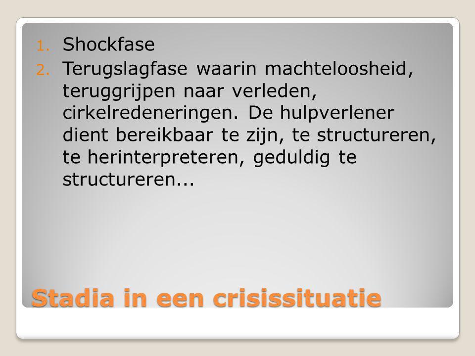 Stadia in een crisissituatie 1. De shockfase, waarin kunnen optreden: bewustzijnsvernauwing, verbijstering, angst, apathie,. De rol van de hulpverlene