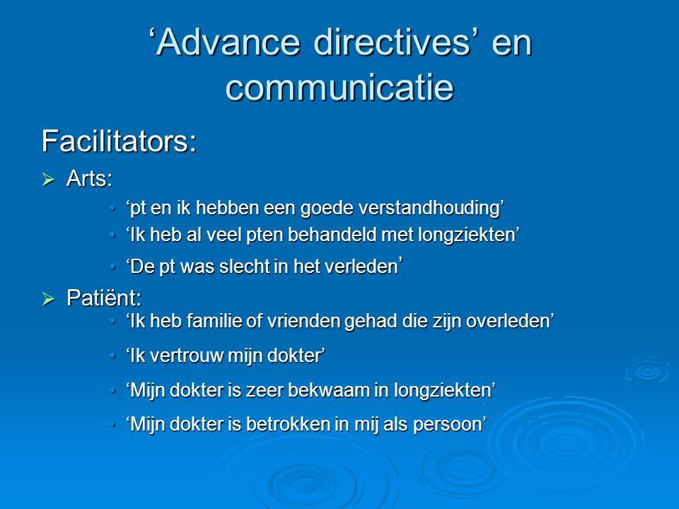'Advance directives' en communicatie Facilitators:  Arts: 'pt en ik hebben een goede verstandhouding''pt en ik hebben een goede verstandhouding' 'Ik