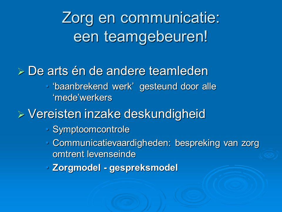 Zorg en communicatie: een teamgebeuren!  De arts én de andere teamleden 'baanbrekend werk' gesteund door alle 'mede'werkers'baanbrekend werk' gesteun