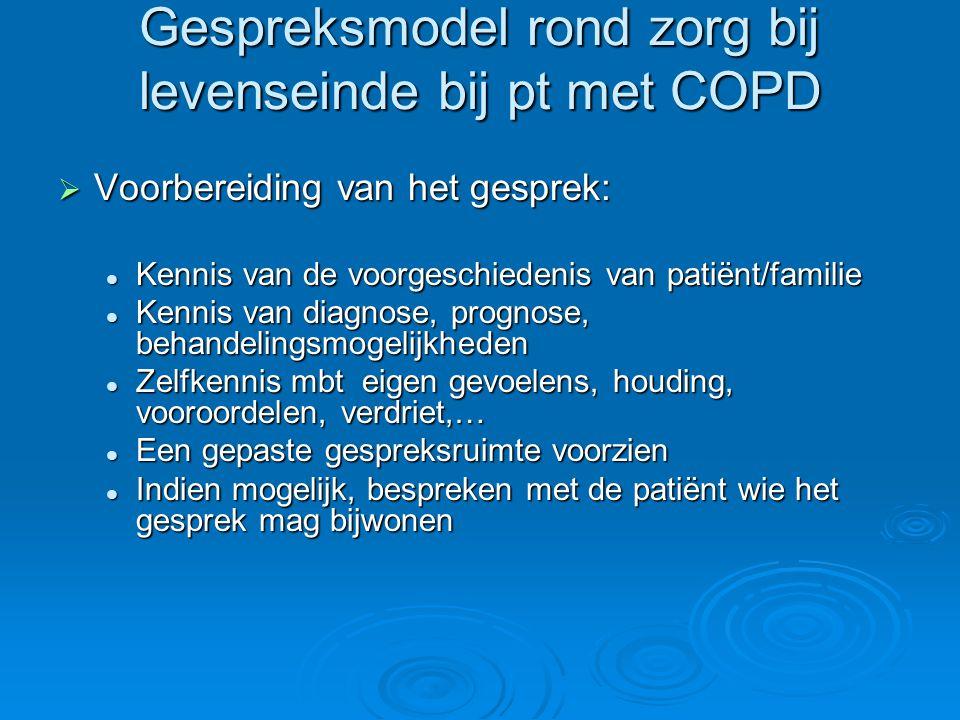 Gespreksmodel rond zorg bij levenseinde bij pt met COPD  Voorbereiding van het gesprek: Kennis van de voorgeschiedenis van patiënt/familie Kennis van
