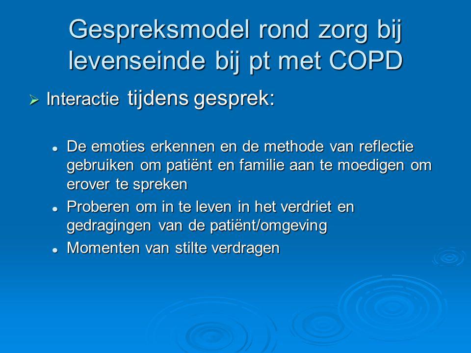 Gespreksmodel rond zorg bij levenseinde bij pt met COPD  Interactie tijdens gesprek: De emoties erkennen en de methode van reflectie gebruiken om pat