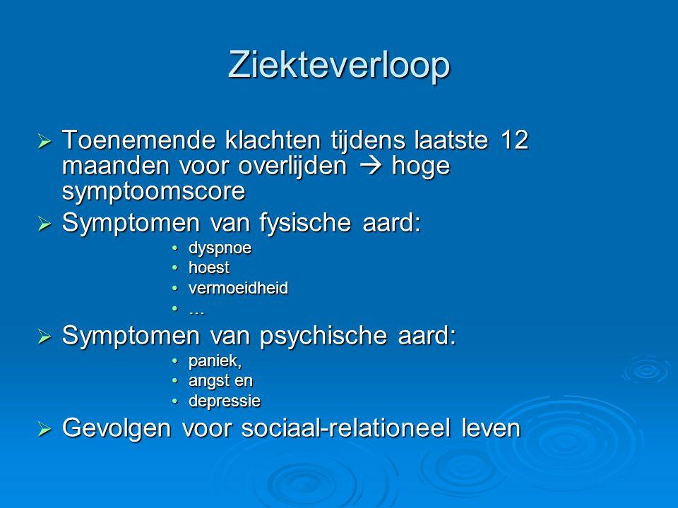 Wensen en behoeften van patiënt Wensen en behoeften van patiënt  Wens om geïnformeerd te worden  Verhoging/behoud van de levenskwaliteit  Vooruitblik op de toekomst met de inspraak van de patiënt