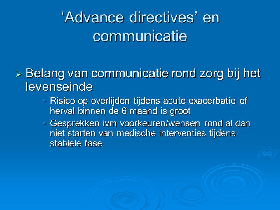 'Advance directives' en communicatie  Belang van communicatie rond zorg bij het levenseinde Risico op overlijden tijdens acute exacerbatie of herval