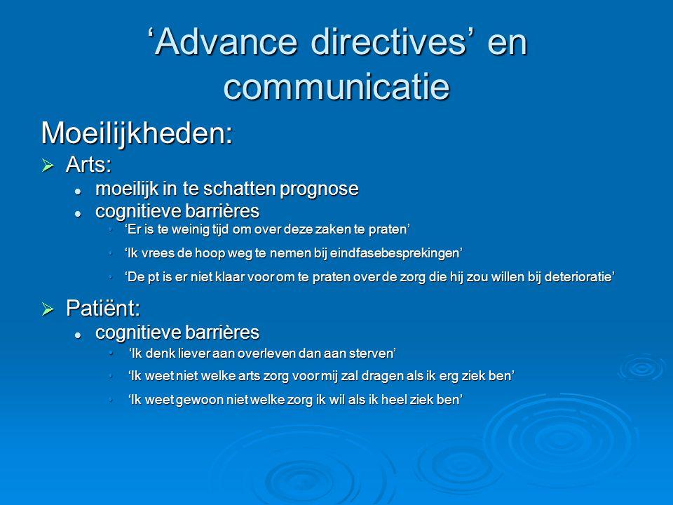'Advance directives' en communicatie Moeilijkheden:  Arts: moeilijk in te schatten prognose moeilijk in te schatten prognose cognitieve barrières cog