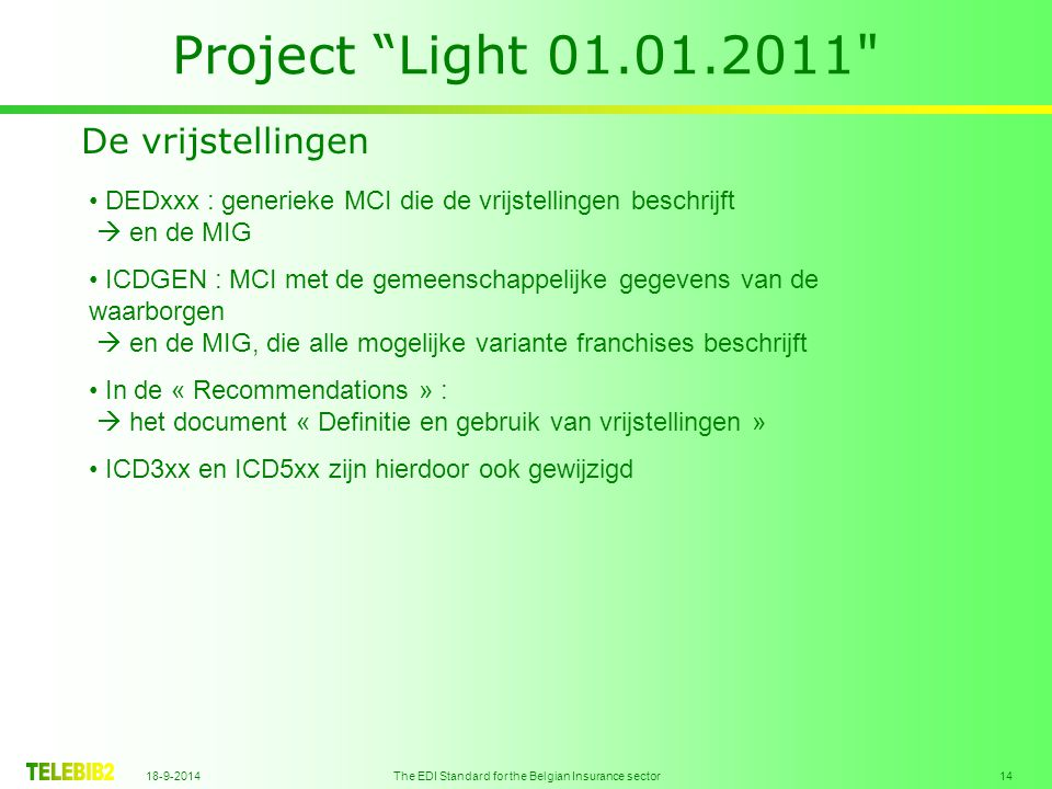 18-9-2014 The EDI Standard for the Belgian Insurance sector 15 Project Light 01.01.2011 De risico-objecten de notie « Adres optimalisatie volgens...