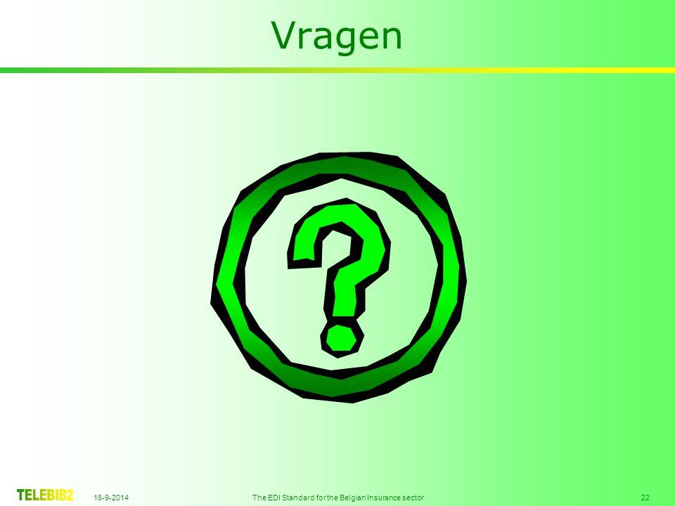 18-9-2014 The EDI Standard for the Belgian Insurance sector 22 Vragen