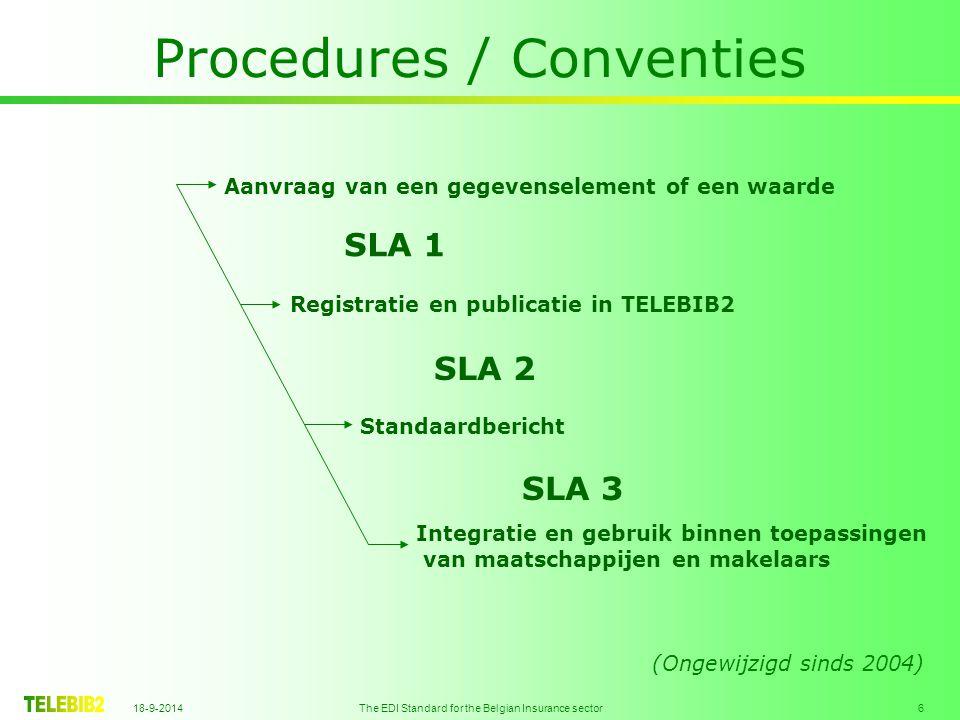 18-9-2014 The EDI Standard for the Belgian Insurance sector 6 Procedures / Conventies Aanvraag van een gegevenselement of een waarde Registratie en publicatie in TELEBIB2 Standaardbericht Integratie en gebruik binnen toepassingen van maatschappijen en makelaars SLA 1 SLA 2 SLA 3 (Ongewijzigd sinds 2004)