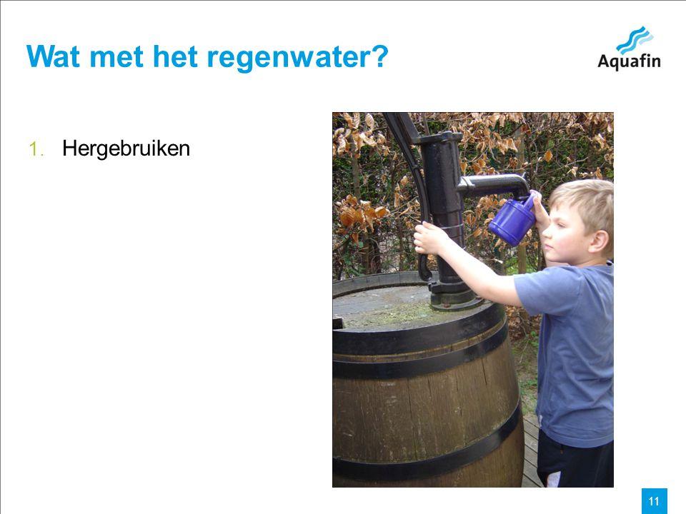 15-12-2010 Aquafin partner for all wastewater projects 11 Wat met het regenwater 1. Hergebruiken