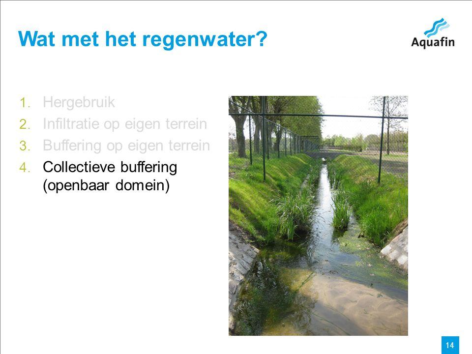 15-12-2010 Aquafin partner for all wastewater projects 14 Wat met het regenwater? 1. Hergebruik 2. Infiltratie op eigen terrein 3. Buffering op eigen