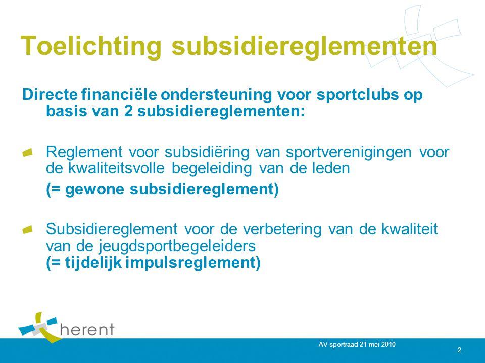 AV sportraad 21 mei 2010 2 Toelichting subsidiereglementen Directe financiële ondersteuning voor sportclubs op basis van 2 subsidiereglementen: Reglement voor subsidiëring van sportverenigingen voor de kwaliteitsvolle begeleiding van de leden (= gewone subsidiereglement) Subsidiereglement voor de verbetering van de kwaliteit van de jeugdsportbegeleiders (= tijdelijk impulsreglement)