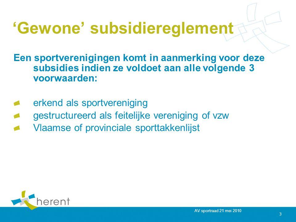 AV sportraad 21 mei 2010 3 'Gewone' subsidiereglement Een sportverenigingen komt in aanmerking voor deze subsidies indien ze voldoet aan alle volgende 3 voorwaarden: erkend als sportvereniging gestructureerd als feitelijke vereniging of vzw Vlaamse of provinciale sporttakkenlijst