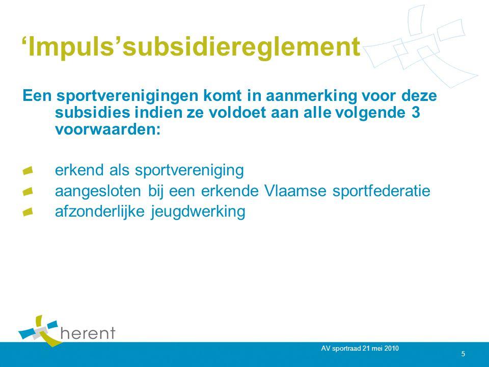 AV sportraad 21 mei 2010 5 'Impuls'subsidiereglement Een sportverenigingen komt in aanmerking voor deze subsidies indien ze voldoet aan alle volgende 3 voorwaarden: erkend als sportvereniging aangesloten bij een erkende Vlaamse sportfederatie afzonderlijke jeugdwerking