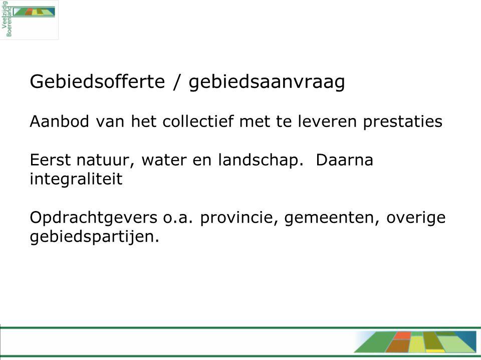 Gebiedsofferte / gebiedsaanvraag Aanbod van het collectief met te leveren prestaties Eerst natuur, water en landschap.