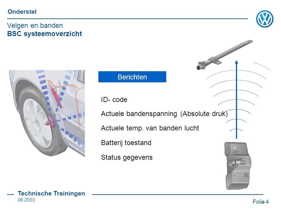 Folie 5 Onderstel Technische Trainingen 06.2003 BSC antennes Reservewiel heeft geen aparte antenne Radiografische signalen worden in het regelapparaat gefilterd en geselecteerd Antenne voor BSC R 59...R 62 bevinden zich in de wielkasten Velgen en banden