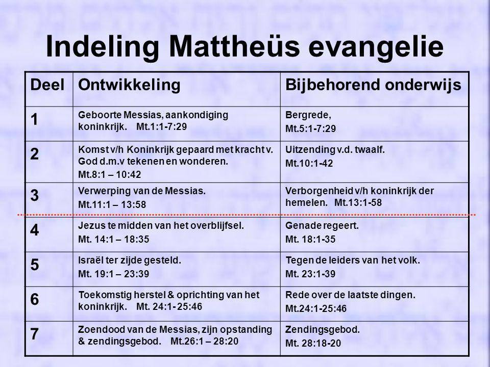 Indeling Mattheüs evangelie DeelOntwikkelingBijbehorend onderwijs 1 Geboorte Messias, aankondiging koninkrijk.
