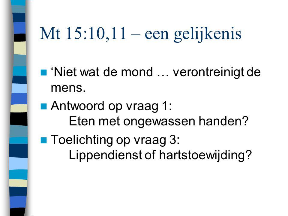 Mt 15:10,11 – een gelijkenis 'Niet wat de mond … verontreinigt de mens. Antwoord op vraag 1: Eten met ongewassen handen? Toelichting op vraag 3: Lippe
