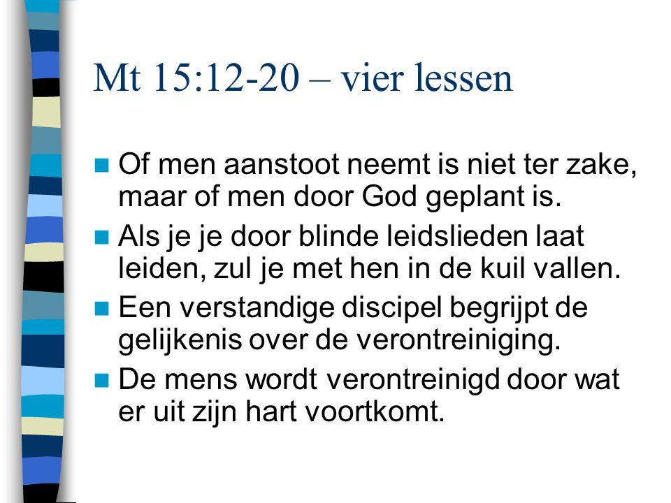 Voor godsdienstige mensen: twee lessen over echte vroomheid Mt 15:1-9: De intentie van Gods woord gaat boven vrome tradities.