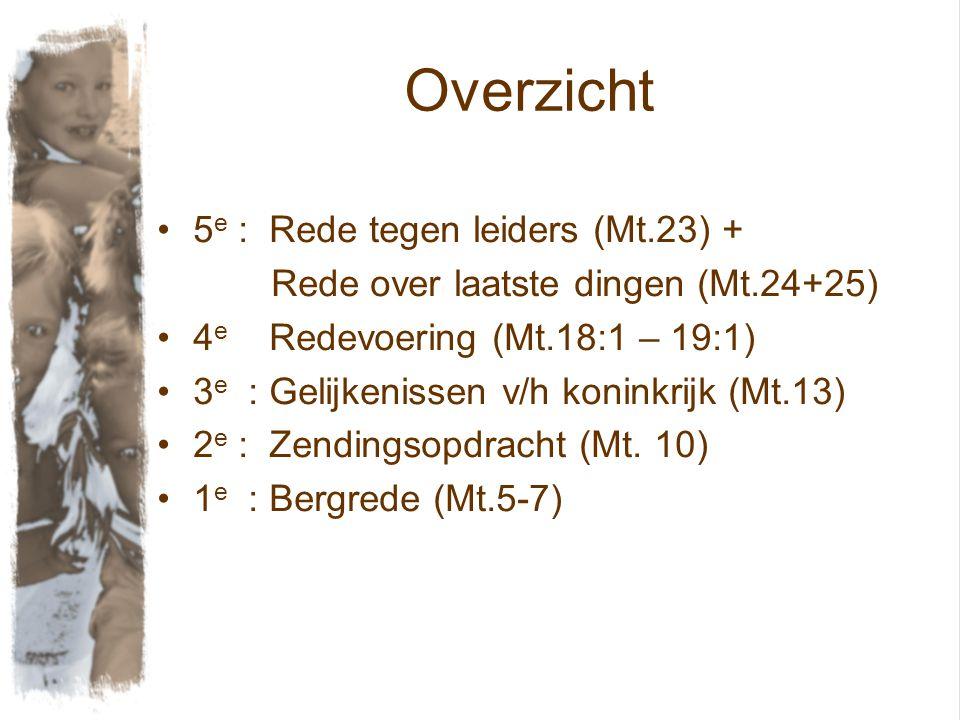 Overzicht 5 e : Rede tegen leiders (Mt.23) + Rede over laatste dingen (Mt.24+25) 4 e Redevoering (Mt.18:1 – 19:1) 3 e : Gelijkenissen v/h koninkrijk (