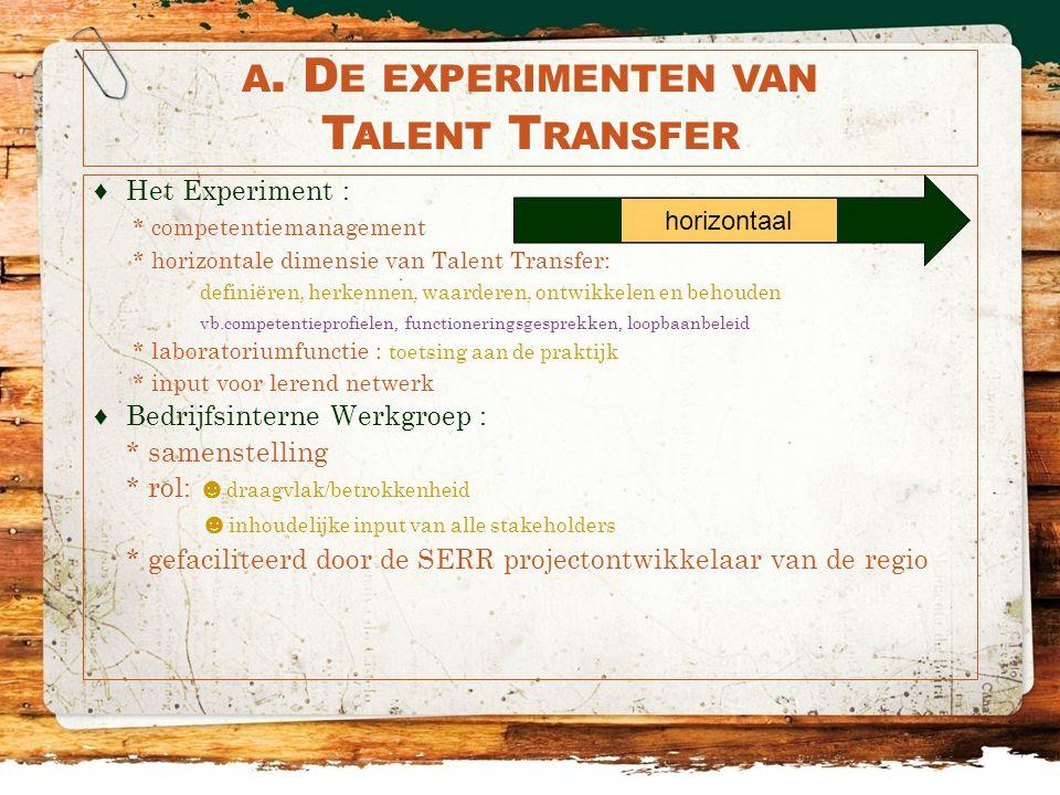 A. D E EXPERIMENTEN VAN T ALENT T RANSFER ♦Het Experiment : * competentiemanagement * horizontale dimensie van Talent Transfer: definiëren, herkennen,