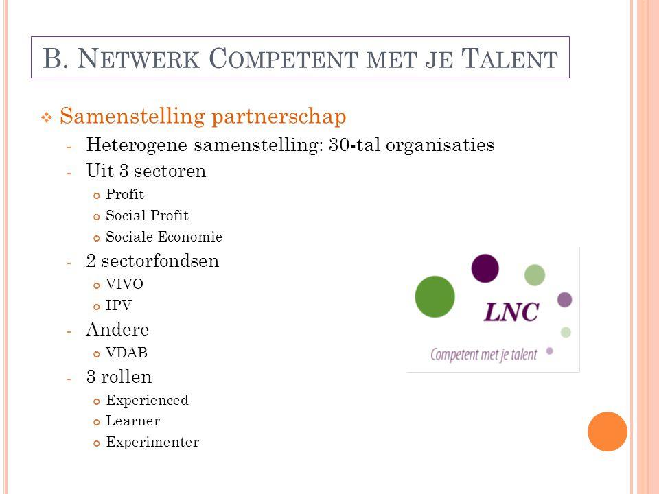 B. N ETWERK C OMPETENT MET JE T ALENT  Samenstelling partnerschap - Heterogene samenstelling: 30-tal organisaties - Uit 3 sectoren Profit Social Prof