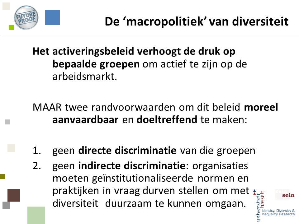 De 'macropolitiek' van diversiteit Het activeringsbeleid verhoogt de druk op bepaalde groepen om actief te zijn op de arbeidsmarkt.