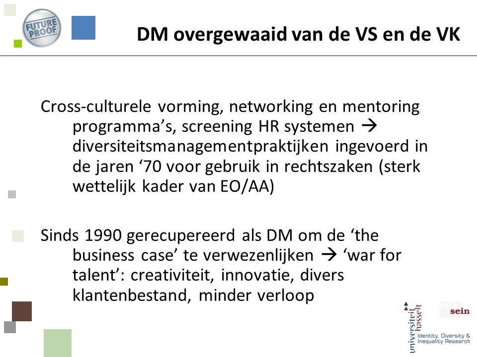 DM overgewaaid van de VS en de VK Cross-culturele vorming, networking en mentoring programma's, screening HR systemen  diversiteitsmanagementpraktijken ingevoerd in de jaren '70 voor gebruik in rechtszaken (sterk wettelijk kader van EO/AA) Sinds 1990 gerecupereerd als DM om de 'the business case' te verwezenlijken  'war for talent': creativiteit, innovatie, divers klantenbestand, minder verloop