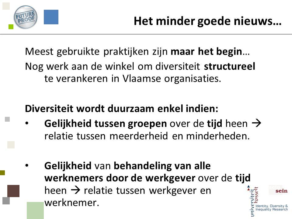 Het minder goede nieuws… Meest gebruikte praktijken zijn maar het begin… Nog werk aan de winkel om diversiteit structureel te verankeren in Vlaamse organisaties.