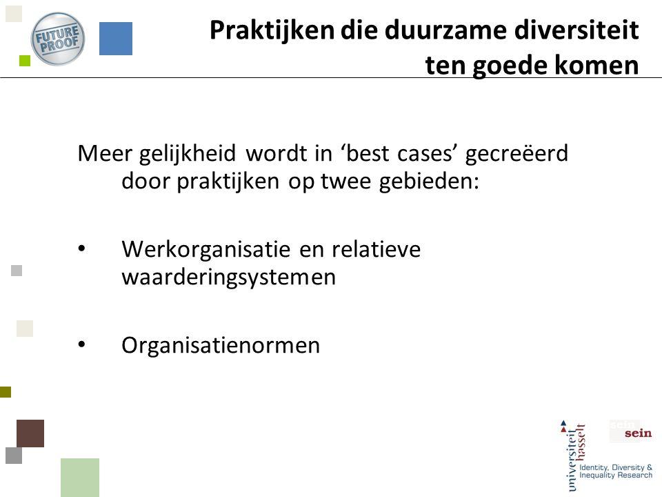 Praktijken die duurzame diversiteit ten goede komen Meer gelijkheid wordt in 'best cases' gecreëerd door praktijken op twee gebieden: Werkorganisatie en relatieve waarderingsystemen Organisatienormen