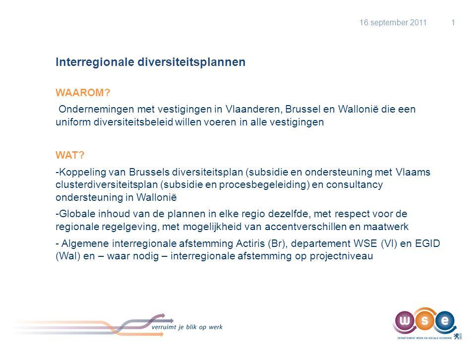 Interregionale diversiteitsplannen WAAROM? Ondernemingen met vestigingen in Vlaanderen, Brussel en Wallonië die een uniform diversiteitsbeleid willen