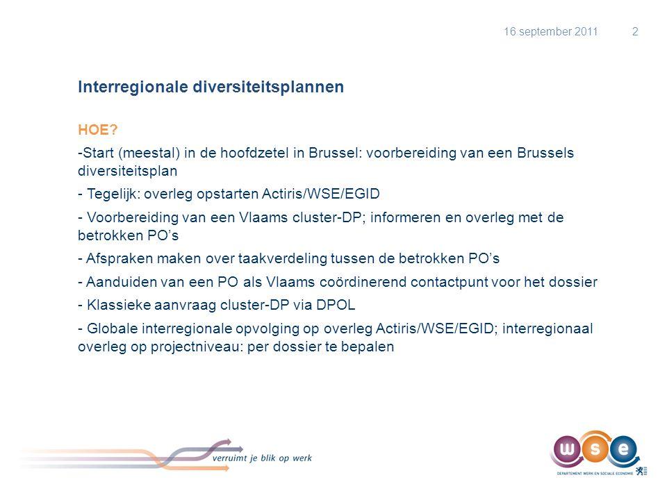 Interregionale diversiteitsplannen HOE? -Start (meestal) in de hoofdzetel in Brussel: voorbereiding van een Brussels diversiteitsplan - Tegelijk: over