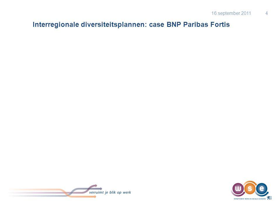 Interregionale diversiteitsplannen: case BNP Paribas Fortis 16 september 20114