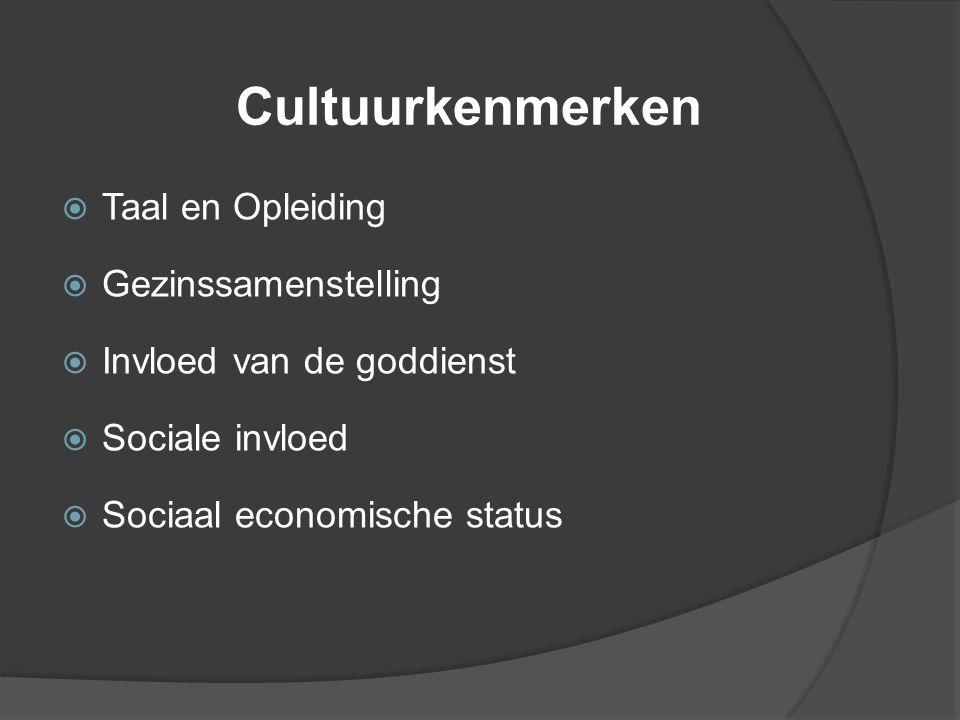 Cultuurkenmerken  Taal en Opleiding  Gezinssamenstelling  Invloed van de goddienst  Sociale invloed  Sociaal economische status