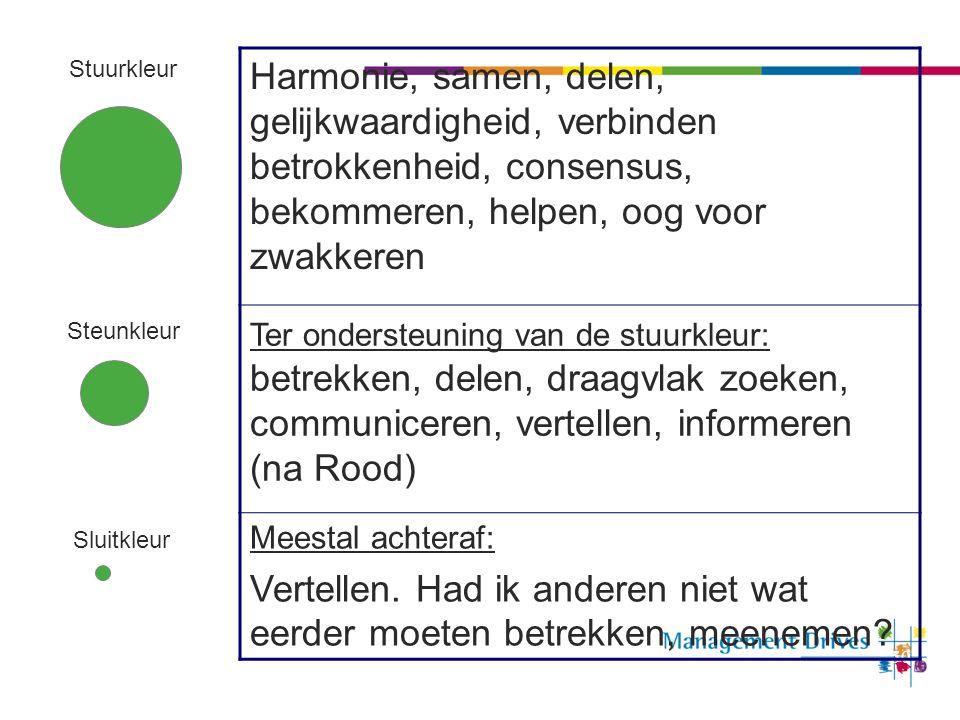 50 Stuurkleur Steunkleur Sluitkleur Harmonie, samen, delen, gelijkwaardigheid, verbinden betrokkenheid, consensus, bekommeren, helpen, oog voor zwakke