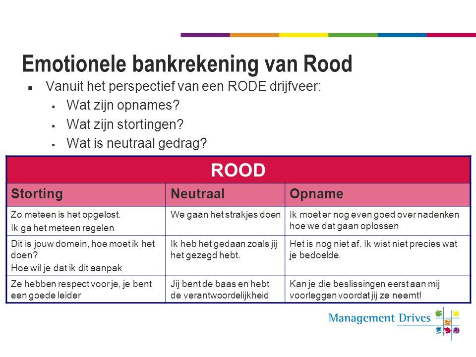 73 Emotionele bankrekening van Rood Vanuit het perspectief van een RODE drijfveer:  Wat zijn opnames?  Wat zijn stortingen?  Wat is neutraal gedrag