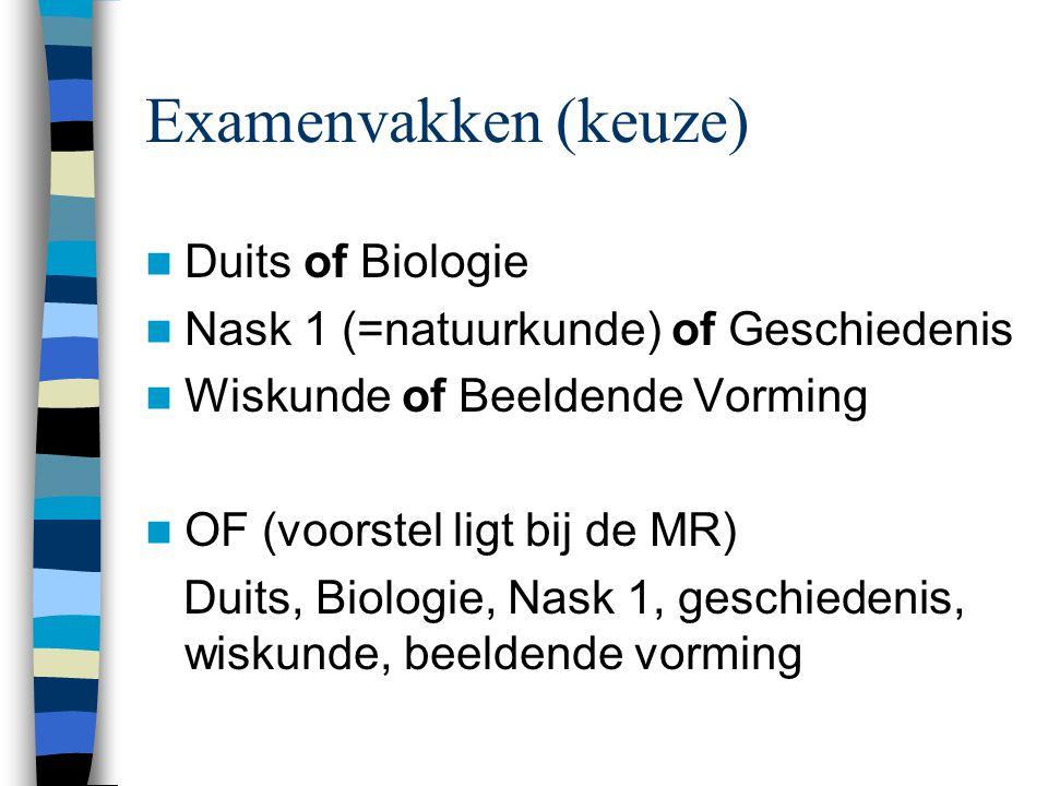 Examenvakken (keuze) Duits of Biologie Nask 1 (=natuurkunde) of Geschiedenis Wiskunde of Beeldende Vorming OF (voorstel ligt bij de MR) Duits, Biologie, Nask 1, geschiedenis, wiskunde, beeldende vorming