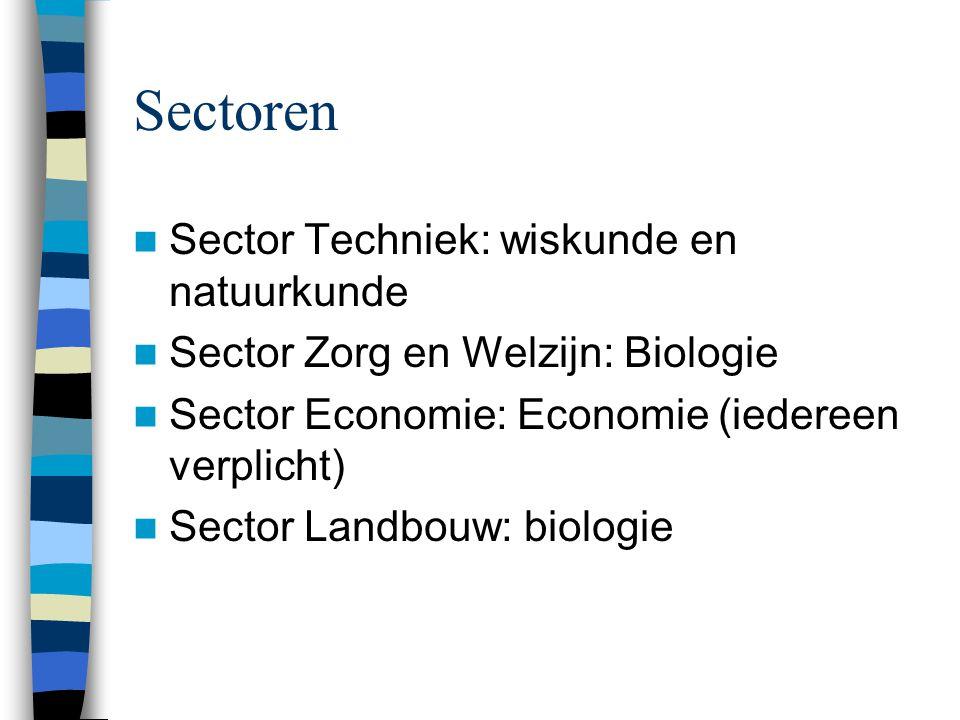 Sectoren Sector Techniek: wiskunde en natuurkunde Sector Zorg en Welzijn: Biologie Sector Economie: Economie (iedereen verplicht) Sector Landbouw: biologie